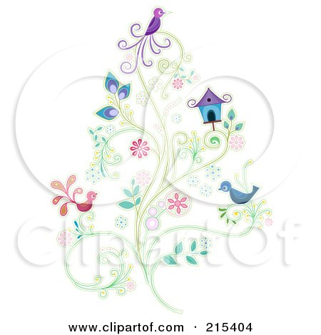 Royalty-Free (RF) Clipart Illustration of Purple, Blue And Pink Birds On A Floral Vine By A House by BNP Design Studio