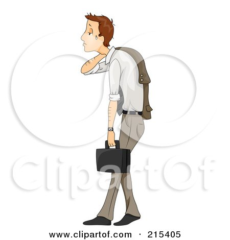 Royalty-Free (RF) Clipart Illustration of a Beat Down And Stressed Business Man Slouching And Crying by BNP Design Studio
