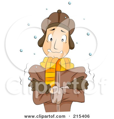 Royalty-Free (RF) Clipart Illustration of a Cold Man Standing In The Snow by BNP Design Studio