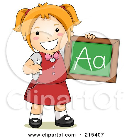 Royalty-Free (RF) Clipart Illustration of a Little School Girl Holding A Chalkboard With The Letter A On It by BNP Design Studio