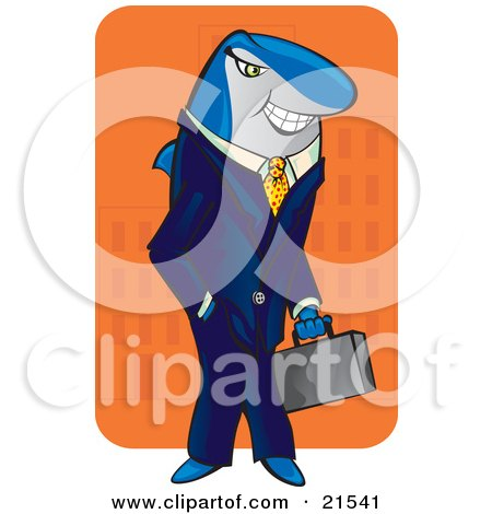 Clipart Illustration of a Sneaky Shark Businessman In A Blue Suit, Carrying A Briefcase And Standing With His Hand In His Pocket While Smiling by Paulo Resende