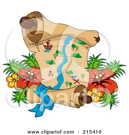Royalty-Free (RF) Clipart Illustration of a Treasure Map With Tropical Flowers by BNP Design Studio