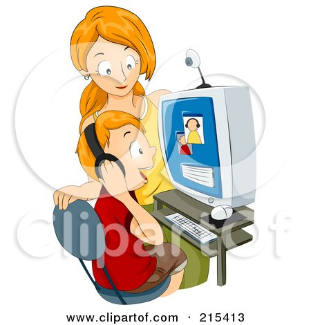 Royalty-Free (RF) Clipart Illustration of a Mother Watching Her Son Chat On A Computer by BNP Design Studio