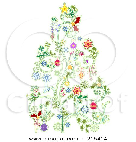 Royalty-Free (RF) Clipart Illustration of a Christmas Tree Made Of Floral Vines And Colorful Baubles by BNP Design Studio