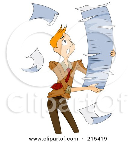 Royalty-Free (RF) Clipart Illustration of a Breeze Blowing Paperwork Out Of A Tall Stack That A Man Is Carrying by BNP Design Studio