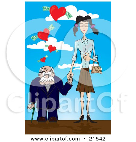 Clipart Illustration of a Short Senior Man Leaning On A Cane And Holding Hands With A Young Skinny Woman, Walking Under Hearts With Cash by Paulo Resende