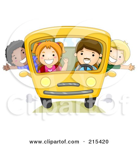 Royalty-Free (RF) Clipart Illustration of Diverse School Kids On A Bus - 2 by BNP Design Studio