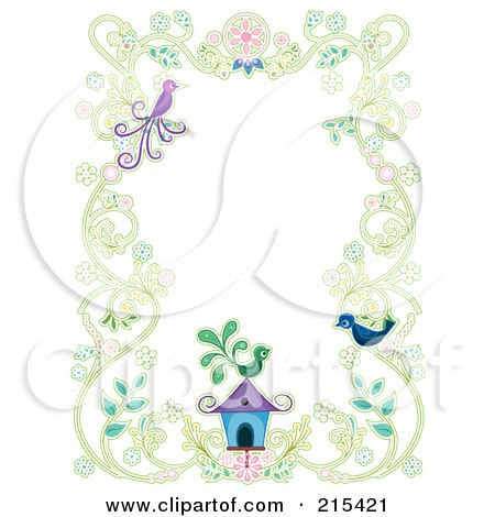 Royalty-Free (RF) Clipart Illustration of a Floral Vine Border With Two Birds And A Bird House by BNP Design Studio