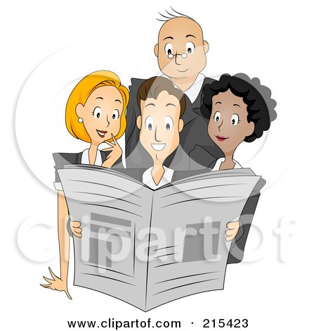 Royalty-Free (RF) Clipart Illustration of a Group Of Newspaper Publishers Reading A Paper Together by BNP Design Studio