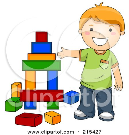 Royalty-Free (RF) Clipart Illustration of a Little School Boy Building With Blocks by BNP Design Studio