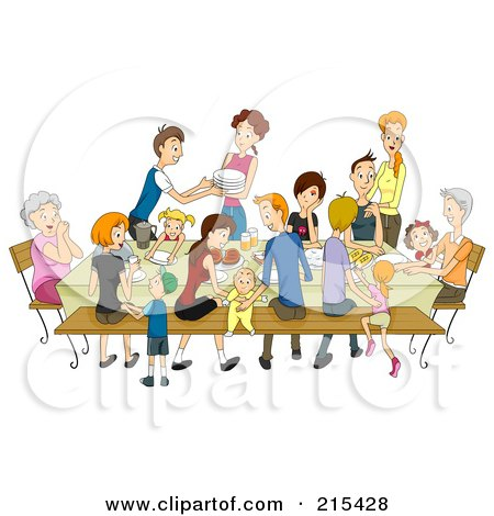 Large Family Eating At A Reunion Posters, Art Prints