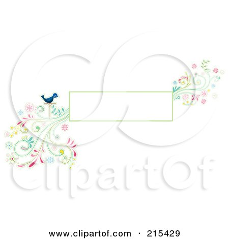 Royalty-Free (RF) Clipart Illustration of a Blank Box With A Blue Bird And A Colorful Floral Vine by BNP Design Studio