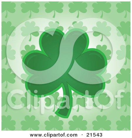 Clipart Illustration Of A Green Shamrock Clover Leaf Over A Patterned Background