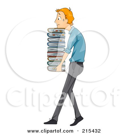 Royalty-Free (RF) Clipart Illustration of a Sweaty Businessman Carrying A Heavy Stack Of Files by BNP Design Studio