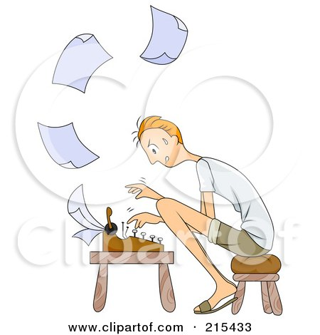 Royalty-Free (RF) Clipart Illustration of a Stressed Man Sitting On A Stool And Typing Paperwork On A Typewriter by BNP Design Studio