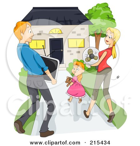 Royalty-Free (RF) Clipart Illustration of a Young Family Carrying Items And Moving Into Their New House by BNP Design Studio