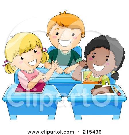 Royalty-Free (RF) Clipart Illustration of Diverse School Kids Talking At Their Desks by BNP Design Studio