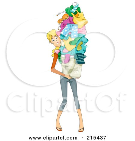 Royalty-Free (RF) Clipart Illustration of a Busy Mom Carrying A Huge Pile Of Laundry by BNP Design Studio