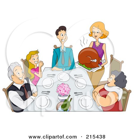 Royalty-Free (RF) Clipart Illustration of a Happy Woman Serving A Large Thanksgiving Turkey To Her Family by BNP Design Studio