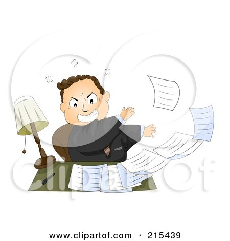 Royalty-Free (RF) Clipart Illustration of a Pissed Businessman Tossing Paperwork Off Of His Desk by BNP Design Studio