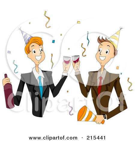Royalty-Free (RF) Clipart Illustration of Two Male Colleagues Toasting At A New Years Party by BNP Design Studio