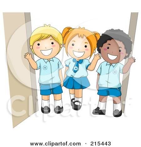 Royalty-Free (RF) Clipart Illustration of Diverse School Kids In Their Uniforms by BNP Design Studio