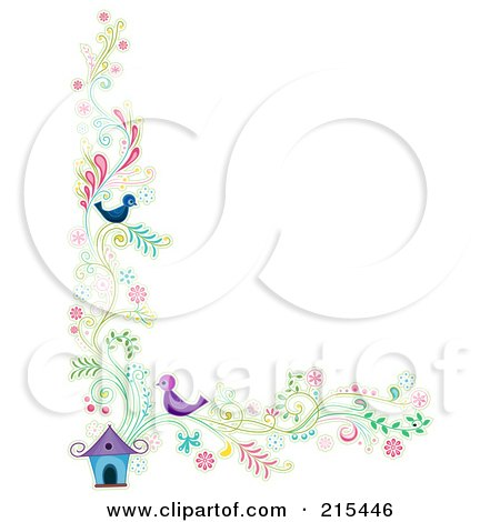 Royalty-Free (RF) Clipart Illustration of a Border Of Floral Vines And Two Birds By A House by BNP Design Studio