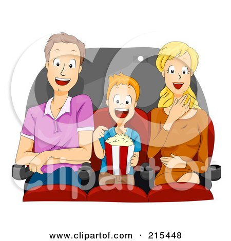 Royalty-Free (RF) Clipart Illustration of a Father, Son And Mother Watching A Funny Movie by BNP Design Studio