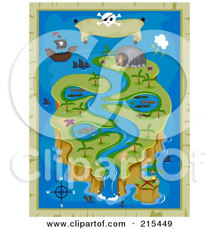 Royalty-Free (RF) Clipart Illustration of a Treasure Map Island Background With A River by BNP Design Studio