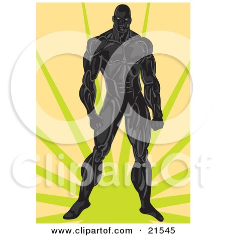 Clipart Illustration of a Very Muscular Man In Black, Standing Over A Green And Orange Background by Paulo Resende