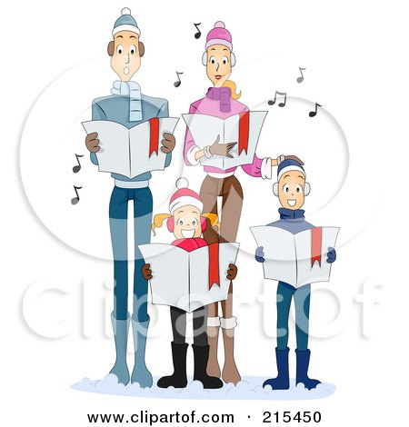 Royalty-Free (RF) Clipart Illustration of a Young Family Singing Carols Together At Christmas Time by BNP Design Studio