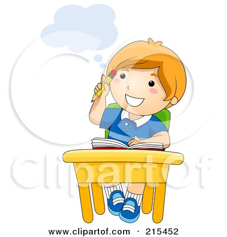 Royalty-Free (RF) Clipart Illustration of a Little School Boy Thinking At His Desk by BNP Design Studio