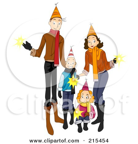 Royalty-Free (RF) Clipart Illustration of a Happy Family Holding Sparklers And Celebrating The New Year by BNP Design Studio