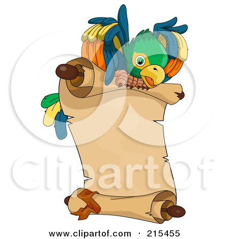 Royalty-Free (RF) Clipart Illustration of a Pirate Parrot Flying A Parchment Scroll by BNP Design Studio