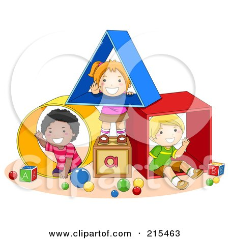 Royalty-Free (RF) Clipart Illustration of Diverse School Kids Playing With Shapes by BNP Design Studio