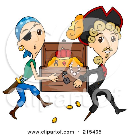 Royalty-Free (RF) Clipart Illustration of Two Pirates Stealing A Treasure Chest by BNP Design Studio