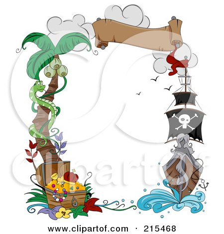 Royalty-Free (RF) Clipart Illustration of a Border Of A Palm Tree, Snake, Treasure Chest, Banner And Pirate Ship by BNP Design Studio
