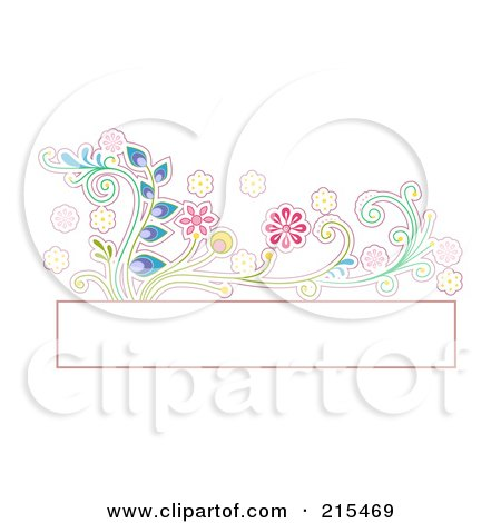 Royalty-Free (RF) Clipart Illustration of a Blank Box With A Colorful Floral Vine by BNP Design Studio