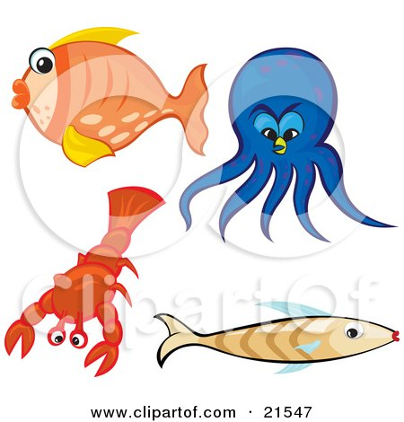 Clipart Illustration of a Collection Of Sea Creatures; Orange Goldfish, Blue Octopus, Red Lobster And Brown Fish, On A White Background by Paulo Resende