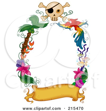 Royalty-Free (RF) Clipart Illustration of a Border Of A Blank Banner With Palm Trees, Flowers A Parrot And Skull by BNP Design Studio