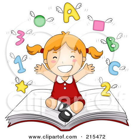 Royalty-Free (RF) Clipart Illustration of a Little School Girl Sitting On A Book With Shapes, Letters And Numbers Flying Above by BNP Design Studio