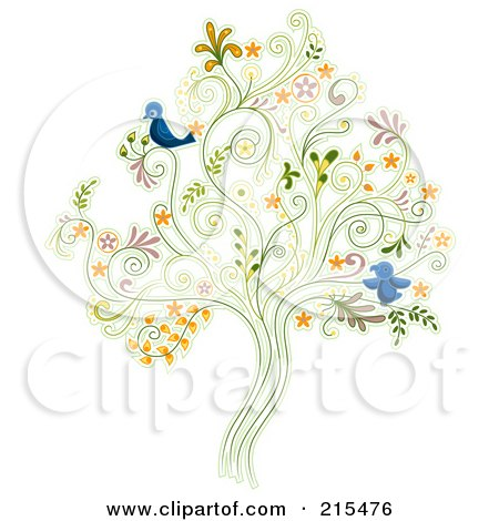 Royalty-Free (RF) Clipart Illustration of a Floral Swirl Tree With Two Blue Birds by BNP Design Studio