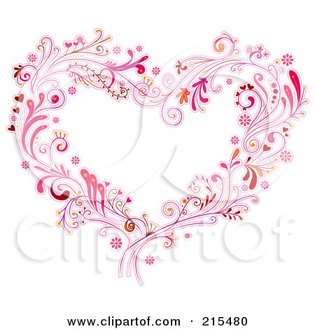 Royalty-Free (RF) Clipart Illustration of a Floral Heart Made Of Pink Vines And Swirls by BNP Design Studio