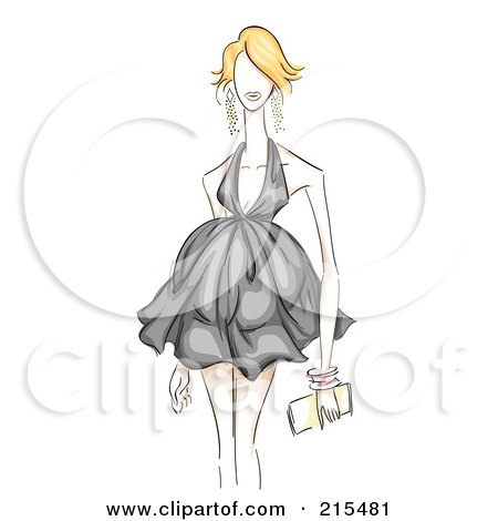 Royalty-Free (RF) Clipart Illustration of a Sketched Woman Modeling A Black Maternity Dress by BNP Design Studio
