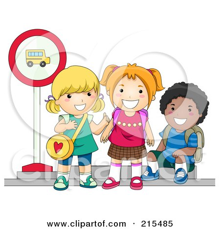 Royalty-Free (RF) Clipart Illustration of Diverse School Kids Waiting At A Bus Stop by BNP Design Studio