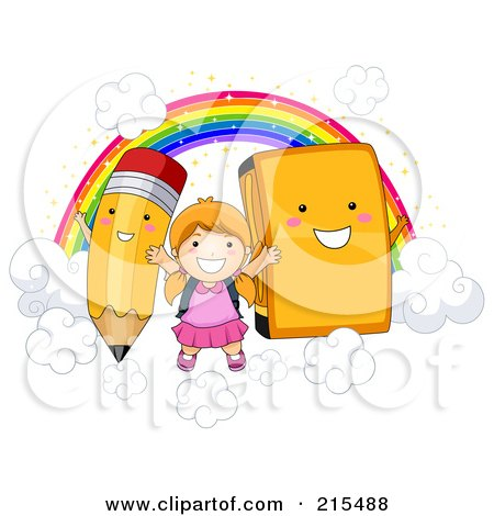 Royalty-Free (RF) Clipart Illustration of a Little School Girl On Clouds With A Rainbow, Pencil And Book by BNP Design Studio