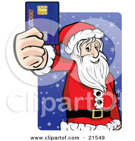 Clipart Illustration of Santa Claus In His Red And White Uniform, Holding Out His Credit Card While Racking Up His Debt And Christmas Shopping by Paulo Resende