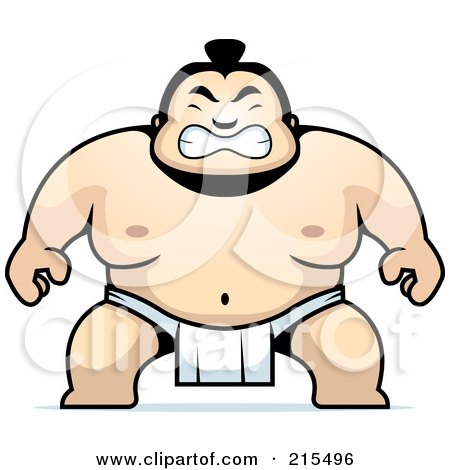 Royalty-Free (RF) Clipart Illustration of a Sumo Guy Crouching by Cory Thoman