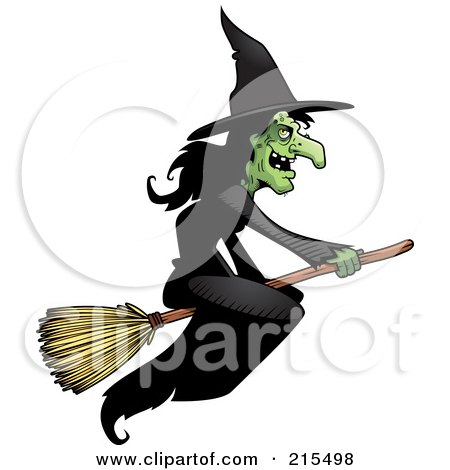 Royalty-Free (RF) Clipart Illustration of a Wicked Witch In A Black Dress, Flying On A Broom Stick by Cory Thoman