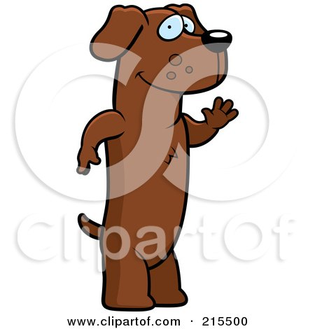 Royalty-Free (RF) Clipart Illustration of a Friendly Daschund Standing On His Hind Legs And Waving by Cory Thoman